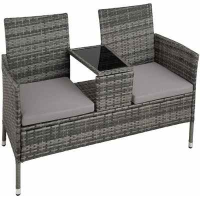 Garden bench with table poly rattan - love seat, patio set, garden set - grey