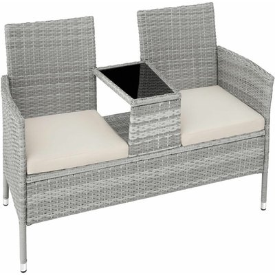 Tectake - Garden bench with table poly rattan - love seat, patio set, garden set - light grey - light grey