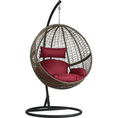 Hanging chair with round frame rattan - hanging egg chair, swing chair, hanging garden chair - brown