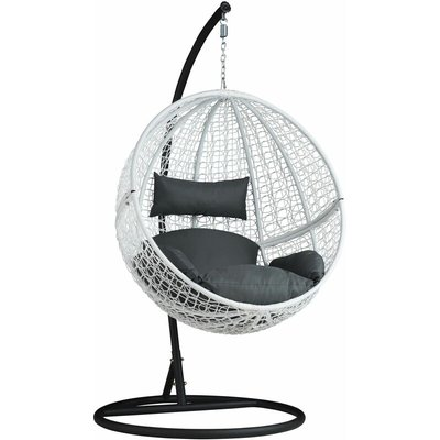 Hanging chair with round frame rattan - hanging egg chair, swing chair, hanging garden chair - white