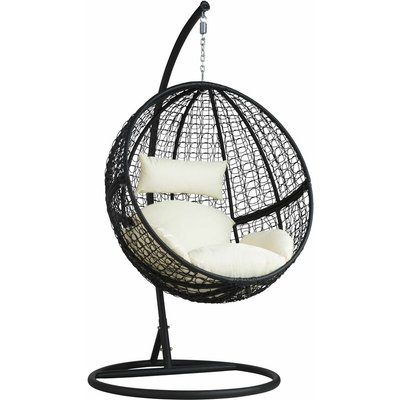 Tectake - Hanging chair with round frame rattan - hanging egg chair, swing chair, hanging garden chair - black
