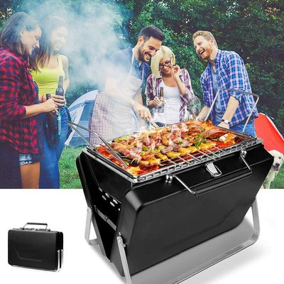 Bearsu - Portable Barbecue Charcoal BBQ Grill Mini Foldable Charcoal Barbecue for 3-5 Personal BBQ Grill 30.5cm × 8cm × 20cm for Barbecue, Party,