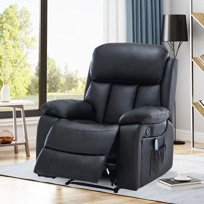 PU Leather Heated Massage Sofa Recliner Armchair, Black