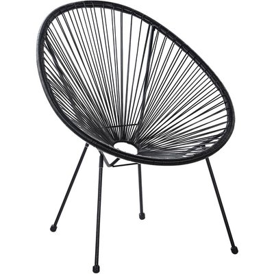 Beliani - Modern Accent Chair Round PE Rattan Steel Living Room Black Acapulco II