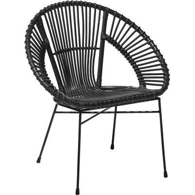 Beliani - Modern Rattan Accent Dining Chair Black Wicker Living Room Metal Frame Sarita