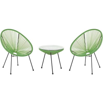 Beliani - Mid Century Modern Garden Bistro Set Table and Chairs 3 Piece Green Acapulco II