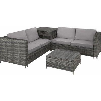 Tectake - Rattan garden furniture lounge Siena - garden sofa, garden corner sofa, rattan sofa - grey