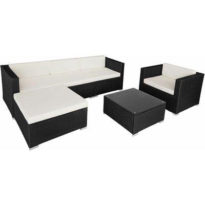 Tectake - Rattan garden furniture Milano, variant 1 - black