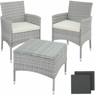 Rattan garden furniture set Lucerne - garden tables and chairs, garden furniture set, outdoor table and chairs - light grey