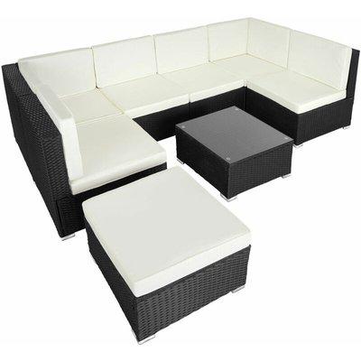 Tectake - Rattan garden furniture lounge Venice - garden sofa, garden corner sofa, rattan sofa - black