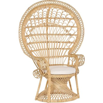 Rattan Peacock Chair Beige EMMANUELLE - BELIANI