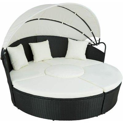 Tectake - Rattan sun lounger island Santorini - garden lounge chair, sun chair, double sun lounger - black