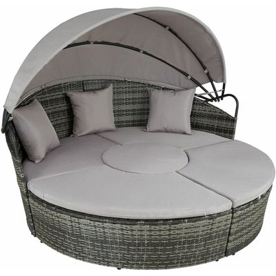 Tectake - Rattan sun lounger island Santorini - garden lounge chair, sun chair, double sun lounger - grey