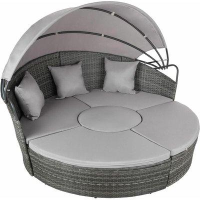 Tectake - Rattan sun lounger island aluminium - garden lounge chair, sun chair, double sun lounger - grey