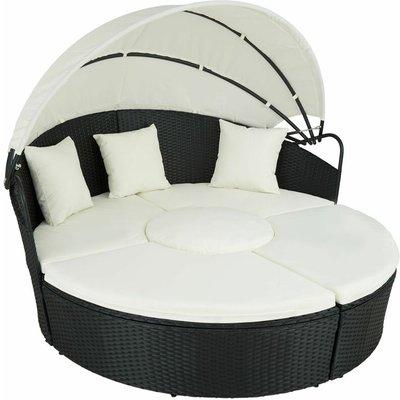 Tectake - Rattan sun lounger island aluminium - garden lounge chair, sun chair, double sun lounger - black