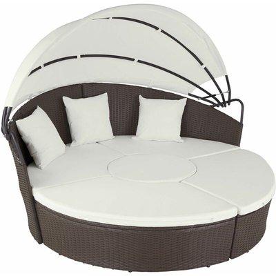 Tectake - Rattan sun lounger island aluminium - garden lounge chair, sun chair, double sun lounger - antique brown