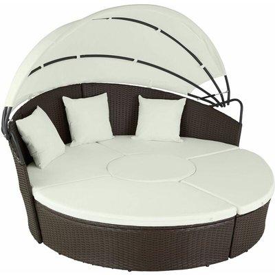 Tectake - Rattan sun lounger island aluminium - garden lounge chair, sun chair, double sun lounger - mixed brown
