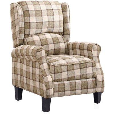 Insma - Recliner Chair Single Sofa Armchair Fabric 90*61*66cm Beige