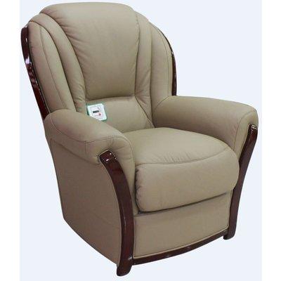 Reggio Genuine Italian Sofa Armchair Coffee Milk Leather Cherry Wood - DESIGNER SOFAS 4 U