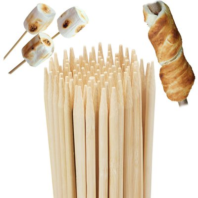 Bamboo Barbecue Skewers, Set of 100, For Bonfires and Marshmallows, Universal, 90 cm Long, Natural - Relaxdays