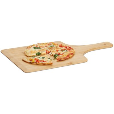 Relaxdays Bamboo Pizza Peel, 50 x 30 cm, Bakers Paddle, Rounded Edges, With Handle, Wooden Shovel, Natural