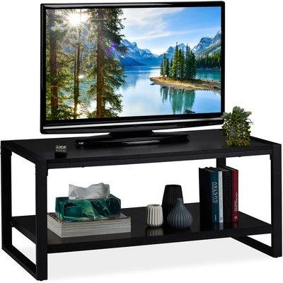 Black Coffee Table, 2-Tier TV Stand, Living Room Storage Shelf, H x W x D: 45 x 100 x 55 cm, Black - Relaxdays