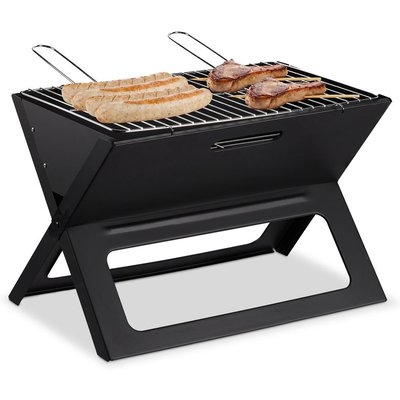 Relaxdays Folding BBQ, With Charcoal & Grill Grate, Foldable Picnic & Camping Barbecue, HWD 30x45.5x30 cm, Black