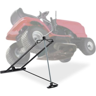 Lawn Mower Jack, 400kg, Maintenance Lifting Tool Ride-On Garden Tractor, Adjustable Tilt/Height, Steel, Black - Relaxdays