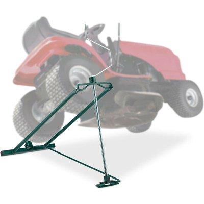 Lawn Mower Jack, 400kg, Maintenance Lifting Tool Ride-On Garden Tractor, Adjustable Tilt/Height, Steel, Green - Relaxdays