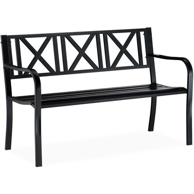 Relaxdays Metal Garden Bench, 2 Seater, Weatherproof, Patio, Porch & Balcony Bank, H x W x D 81 x 127 x 56 cm, Steel, Black