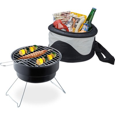 Picnic Grill With Cooler Bag, Portable Camping BBQ, Ø 26cm, Mini Barbecue For Travel, Black - Relaxdays