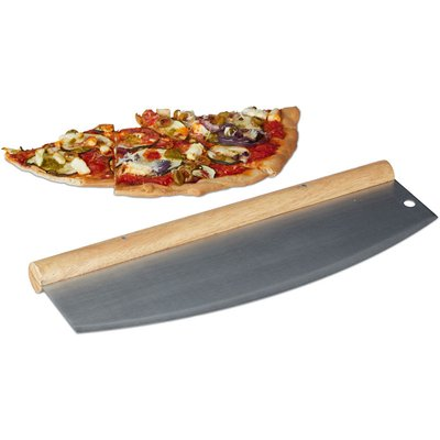 Pizza Chopper, Stainless Steel Herb Mincing Knife, Hanchoir with Wooden Handle, 1 Blade with Protector, HxW: 12 x 35 cm, Silver - Relaxdays