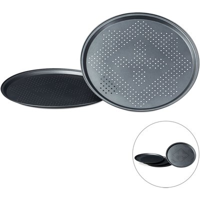 Relaxdays Pizza Pans with Perforations Set Round Pizza Baking Trays with Large Inner Diameter of 29 cm Tray for Pizza and Tarte Flambee Pizza Baking