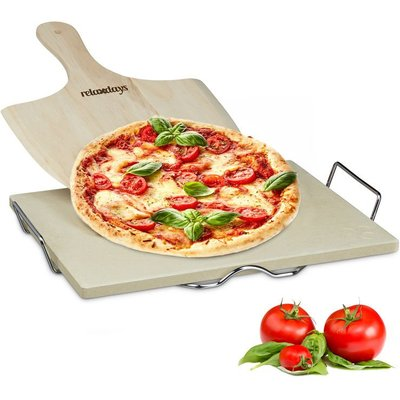 Relaxdays Pizza Stone Set, 1.5 cm Thick, Metal Holder and Wooden Pizza Peel Shover of 7 x 43 x 31.5 cm, Natural