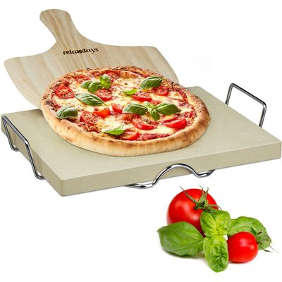 Relaxdays Pizza Stone Set 3 cm Thick w/ Metal Holder and Wooden Pizza Peel, Size: 7 x 43 x 31.5 cm, Natural