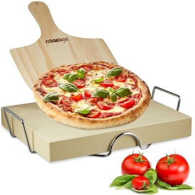 Pizza Stone Set 5 cm Thick w/ Metal Holder and Pizza Peel made of Wood, Size: 7 x 43 x 31.5 cm, Natural - Relaxdays