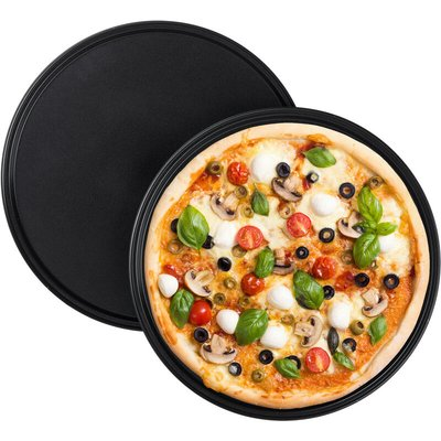 Relaxdays Pizza Tray, Set Of 2, Round, Nonstick, Pizza & Tarte Flambée, Carbon Steel, Dough Tray, ? 32 cm, Grey