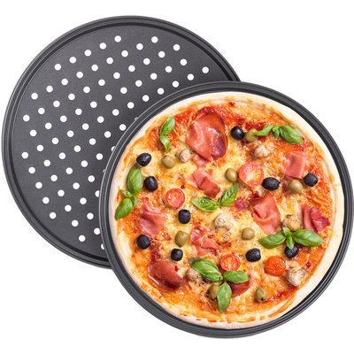 Relaxdays Pizza Tray, Set Of 2, Round, With Holes, Nonstick, Tarte Flambée, Carbon Steel, Dough Tray, ? 32 cm, Grey