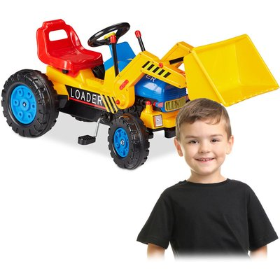 Ride-on Digger, Tractor With Front-loader, Front & Back Coupling, Adjustable Seat, For Kids 3-8 Years, Orange - Relaxdays