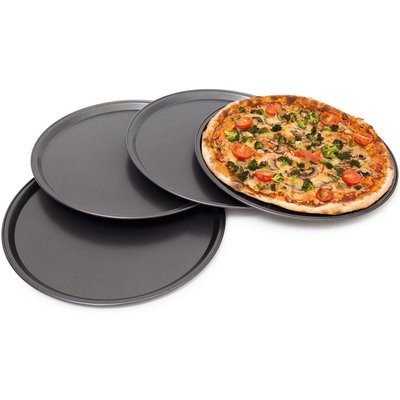 Round Pizza Baking Pan 33 cm 4-Piece Set Baking Plates With Non-Stick Coating For Pizzas And Tarte Flambee With Extra Large Diameter Pizza Baking