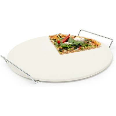 Relaxdays Round Pizza Stone For Baking Cooking Pizza, 33 cm diameter, Baking Stone Made Of Cordierite With Metal Handles For Crunchy Stone Oven-Baked