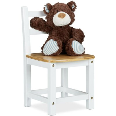 RUSTICO Bamboo Kids Chair, For Boy and Girls, Children's Seat, HxWxD: ca 50 x 28.5 x 28 cm, White / Brown - Relaxdays