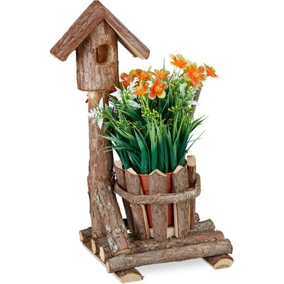 Wooden Flowerpot, Mini Deco Birdhouse & Bark, Round Pot, Rustic Decoration, For Indoor & Outdoor Use, Brown - Relaxdays
