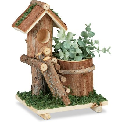 Wooden Flowerpot, Mini Deco Birdhouse & Moss, Tree Trunk Planter Design, Rustic, Indoor&Outdoor Use, Brown - Relaxdays