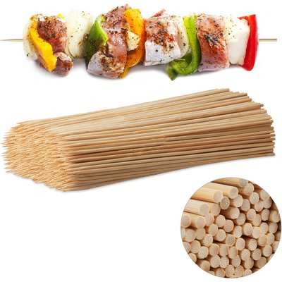 Relaxdays Wooden Skewers, Bamboo Trussing Needles Pack of 500, BBQ or Crafting Accessory, 30 cm Long, mm Thick, Natural