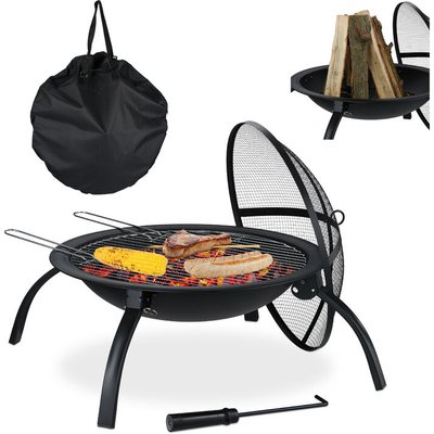 XL Fire Pit, Grate, Poker, Spark Screen, Lid, with Bag, Garden, Patio, Fire Bowl D 56.5 cm, Black - Relaxdays