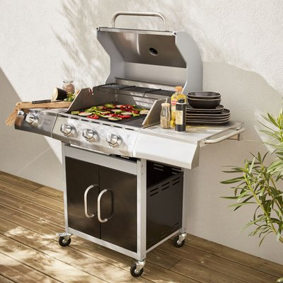 Alice's Garden - 14kW stainless steel gas barbecue Richelieu - Barbecue with 3 burners and 1 side burner, grill side and plancha side