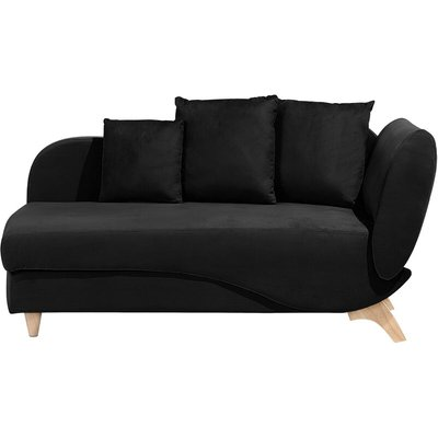 Beliani - Modern Right Hand 2 Seater Chaise Lounge Storage Box Fabric Black Meri