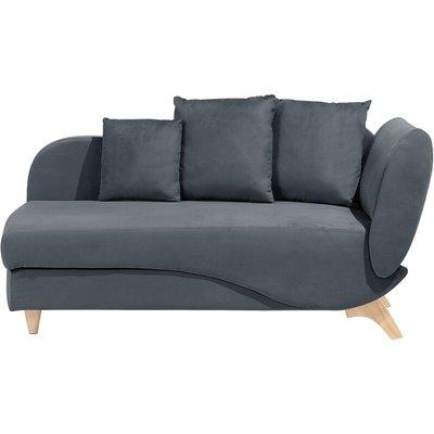 Right Hand Fabric Chaise Lounge with Storage Dark Grey MERI - BELIANI
