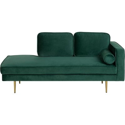 Right Hand Velvet Chaise Lounge Emerald Green MIRAMAS - BELIANI